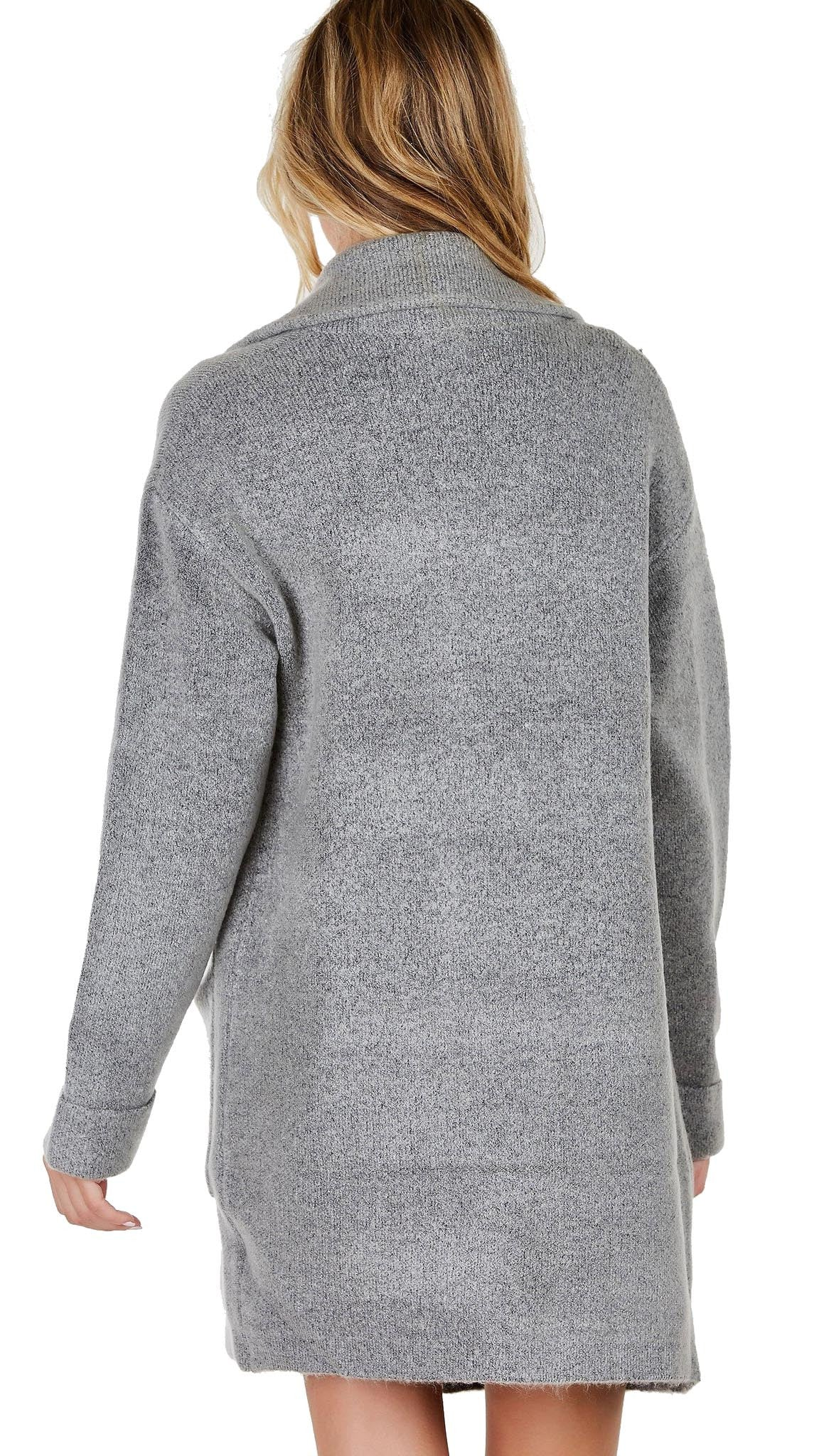 Lush Invested Blazer Cardigan Wool Sweater Jacket Heather Grey Open