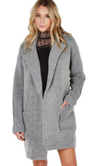 Lush Invested Blazer Cardigan Wool Sweater Jacket Grey Open