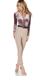 Victorian Velvet Cut Out Bodysuit Mauve Long Sleeve Deep V Buttons Pink