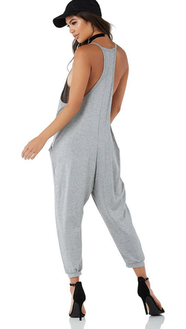 Free Spirit Jumpsuit Grey Pocket Tank Jumper Harem Pant