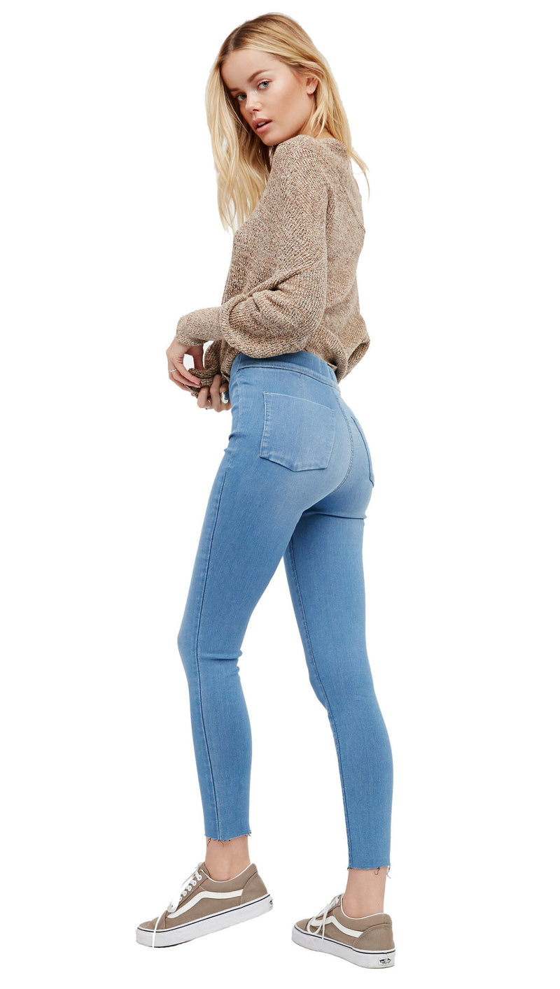 Free People Easy Goes It Denim Legging Light Wash Jegging l ShopAA