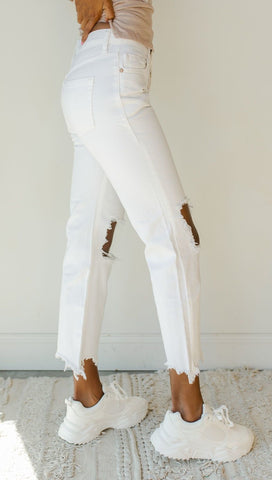 Free People Maggie Mid Rise Straight Leg White