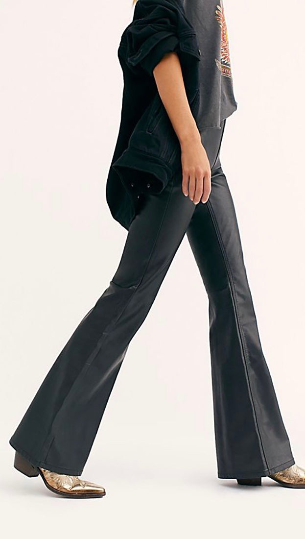 Free People Penny Pull On Flared Faux Leather Pants Black | ShopAA