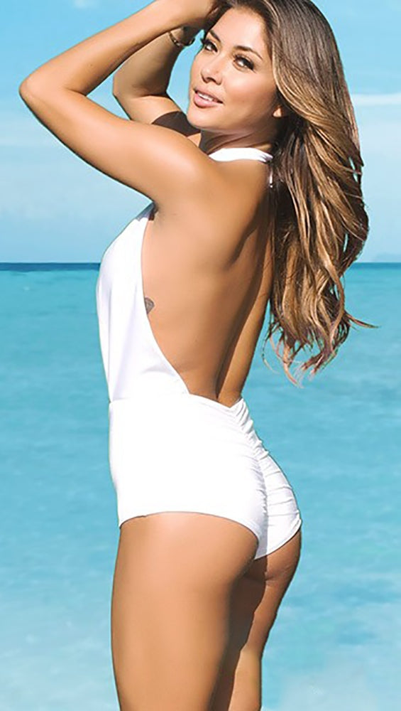 White Wrap Hollywood Marilyn Halter One Piece Chynna Dolls Swimwear