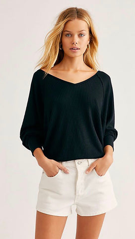 Free People Santa Clara Thermal Dolman Black Waffle Knit Top I ShopAA