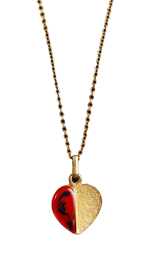ShopAA Half Golf Charm Heart Red Glass Necklace