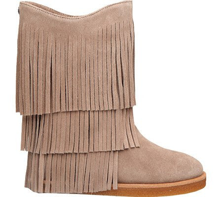 Koolaburra Women's Josie Fringe Shearling Boot Chestnut