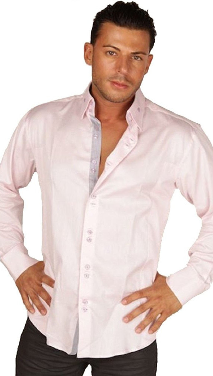 Preview Mens Light Pink Dress Shirt w/ Grey Contrast