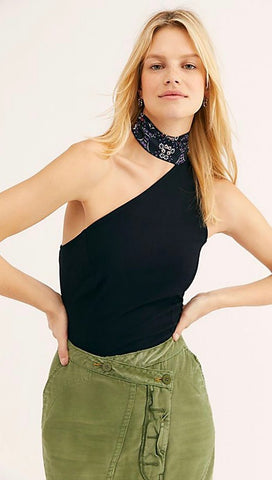 Free People Caroline One-Shoulder Sleeveless Tank Top Black I ShopAA