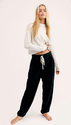 Free People Slouch Jogger Pants Black Fuzzy Sweatpants l ShopAA