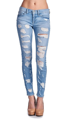 Sneak Peek Distressed Low Rise Cigarette Jean