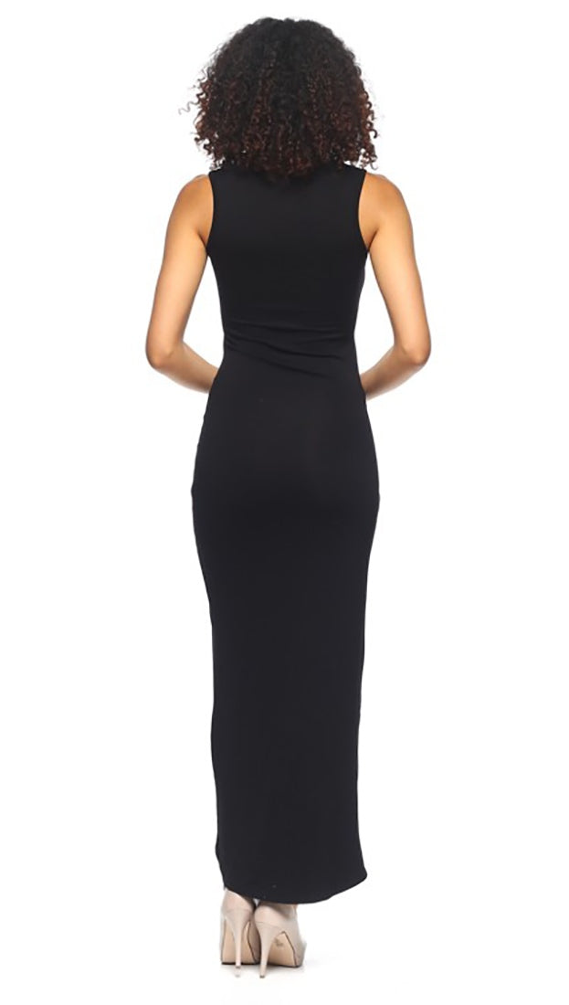 Krystal Cut Out Maxi Dress Black V Neck Cover Up | ShopAA