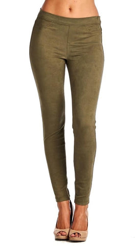 Suede Skinny Pants Legging Olive Green