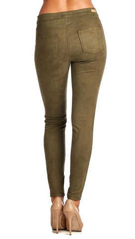 Suede Skinny Pants Legging Olive Green Back