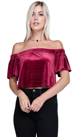 Harem Girl Velvet Off Shoulder Crop Top Wine Red - Holidy Night Out Blouse