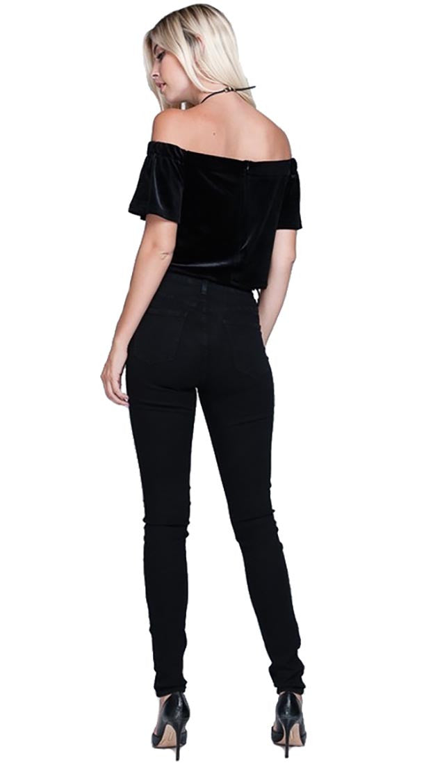 Harem Girl Velvet Off Shoulder Crop Top Black