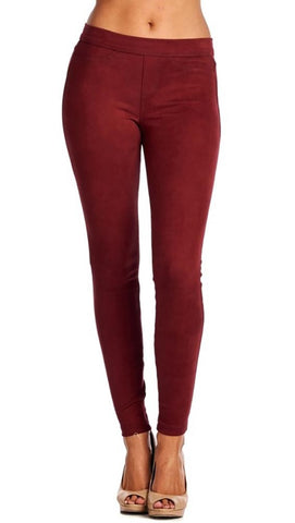 Suede Skinny Pants Legging Red