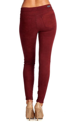 Suede Skinny Pants Legging Red Super Soft