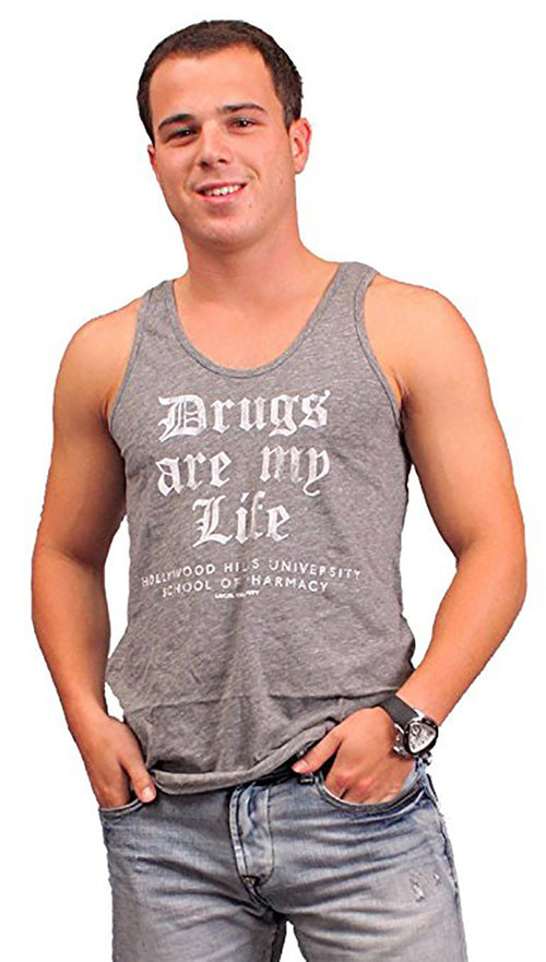 Local Celebrity Mens Drugs Are My Life Sleeveless Tank Top in Heather Grey