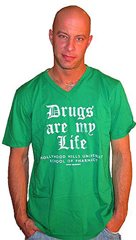 Local Celebrity Mens Drugs Are My Life V Neck Tee Shirt in Kelly Green