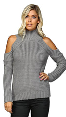Cold Shoulder Mock Turtleneck Sweater Grey