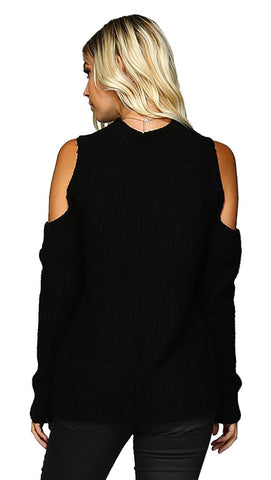 Cold Shoulder Mock Turtleneck Sweater Black