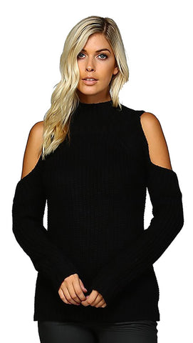 Cold Shoulder Long Sleeve Mock Turtleneck Sweater Black