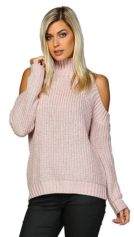 Cold Shoulder Mock Turtleneck Long Sleeve Sweater Pink Mauve