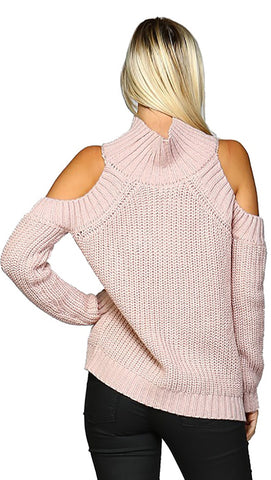 Cold Shoulder Mock Turtleneck Sweater Mauve Pink