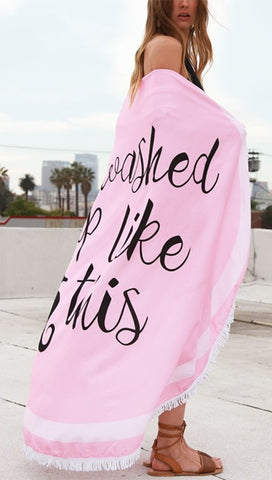 I Washed Up Like This Seahorse Round Fringe Beach Towel Pink Throw