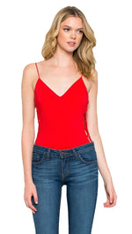 Sleeveless Side Lace Up Tie Detail Tank Bodysuit Red by Cloudwalk