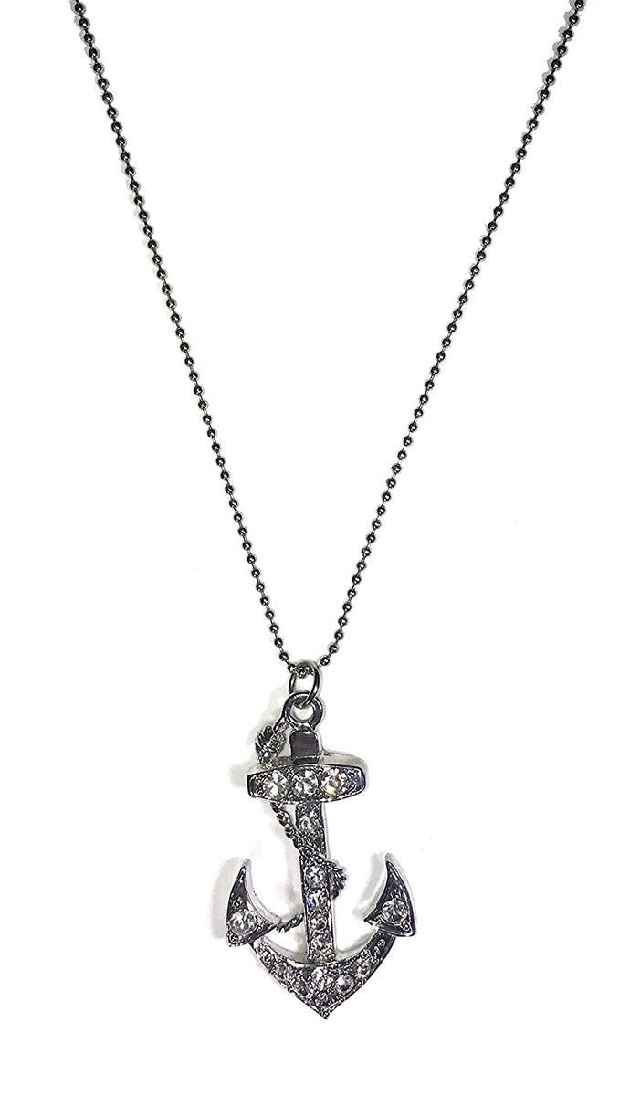 Apparel Addiction Anchor Rhinestone Necklace Silver