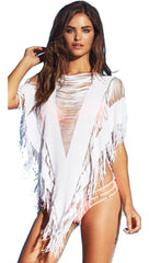 Beach Bunny Swimwear Indian Summer Poncho Beach Cover Up White Fringe Tunic Top