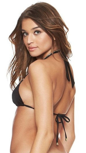 Bunny Basics Triangle Triple Strap Top Black by Beach Bunny Swimwear