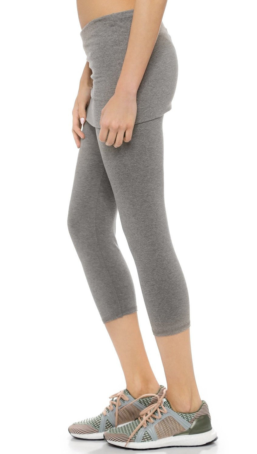 So Low Foldover Skirt Crop Leggings Medium Heather Grey