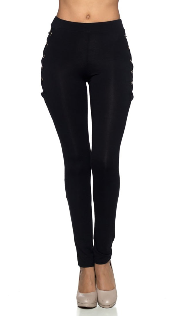 Black Skinny Pant Legging Sexy Lace Up Hip Ties Cut Outs | ShopAA