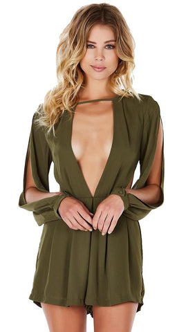 Chiffon Romper by Evenuel Long Sleeve Cut Out Slit