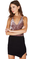 Crushed Velvet Open Back V Neck Tank Bodysuit Mauve Pink