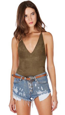 Suede Open Back Criss Cross Deep V Vegan Bodysuit Olive