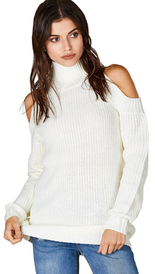 Cold Shoulder Mock Turtleneck Sweater Ivory