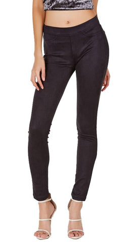 Suede Skinny Pants Legging Black