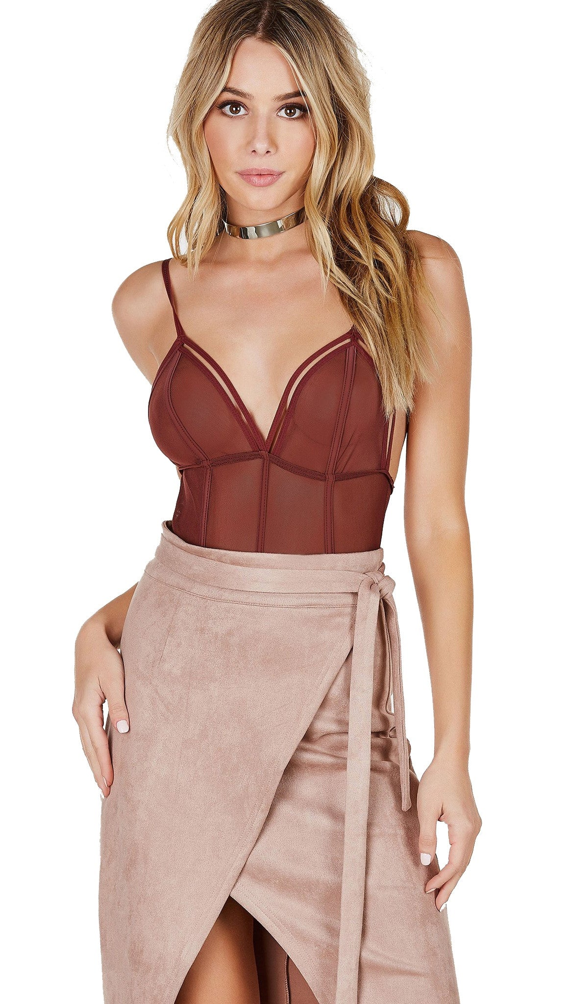 Hot AF Strappy Mesh Bodysuit Chocolate