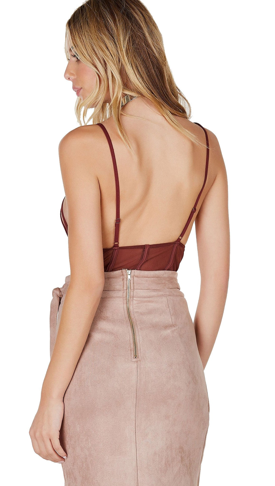 Caged Strappy Mesh Bodysuit Chocolate Brown