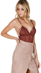 Caged Strappy Mesh Bodysuit Chocolate Brown Cut Out