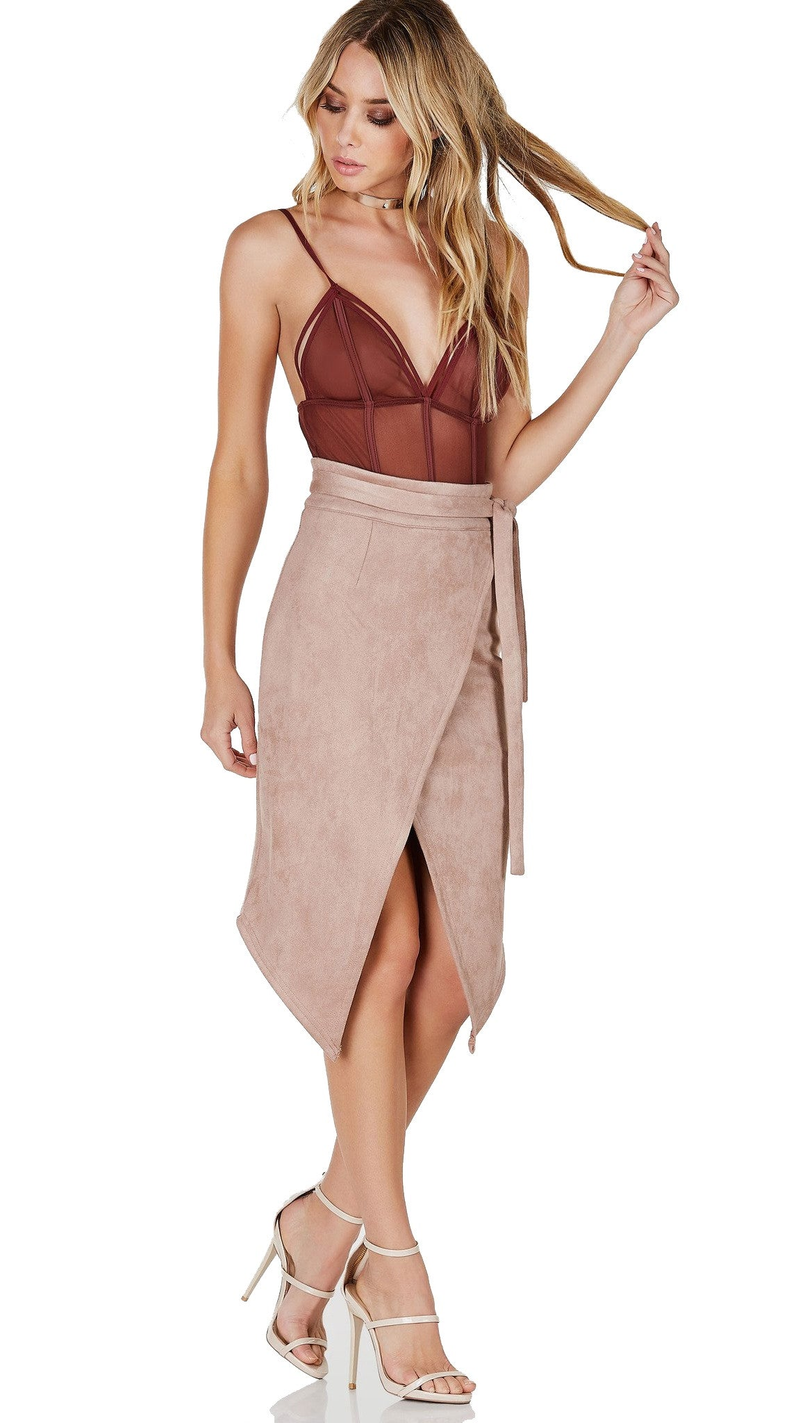 Caged Strappy Mesh Bodysuit Chocolate Brown See Through