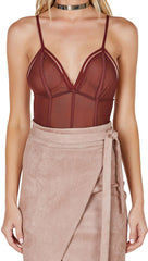 Caged Sexy Strappy Mesh Bodysuit Chocolate Brown
