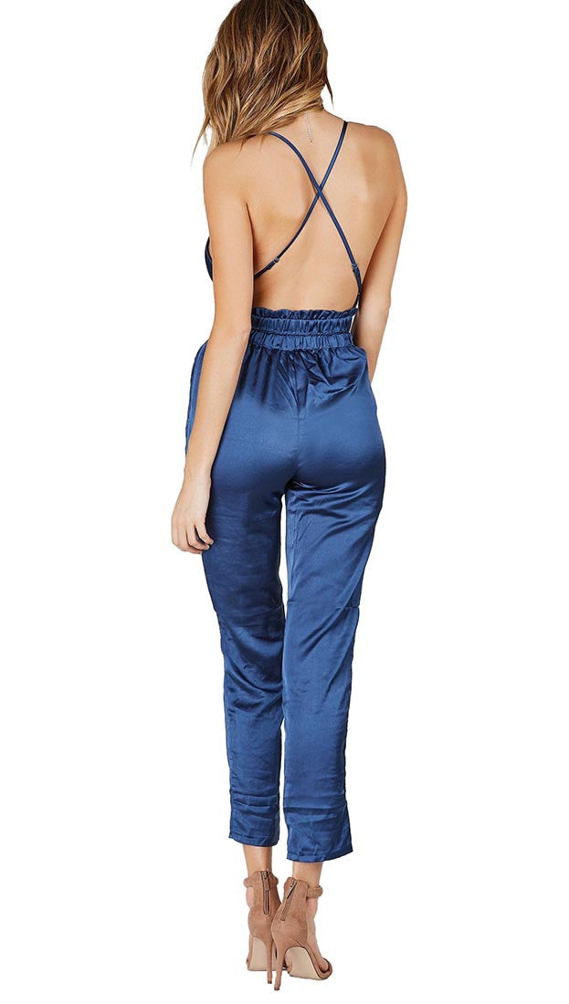 Navy Blue Satin V Neck Wrap Jumpsuit Pockets Silk Pants