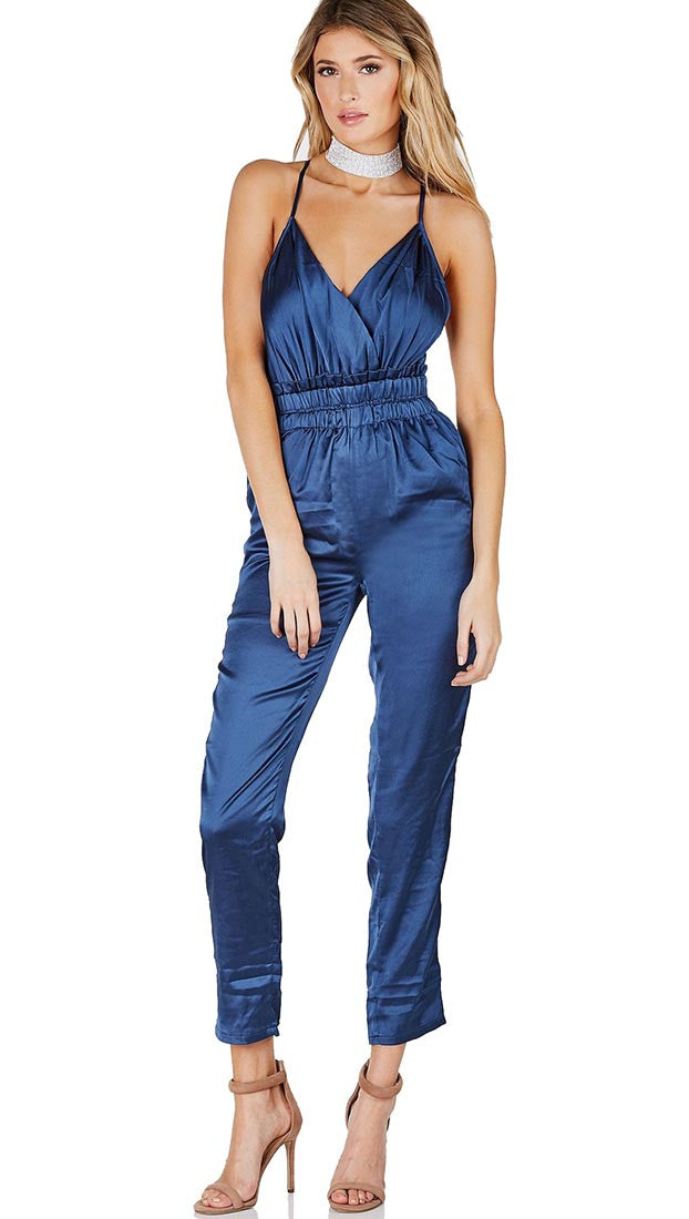 Satin V Neck Pants Jumpsuit Pockets Navy Blue Empire Stretch Ruched Waist Sleeveless