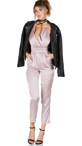 Satin V Neck Pants Jumpsuit Pockets Rose Gold Pink Empire Stretch Ruched Waist Sleeveless