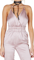 Satin V Neck Jumpsuit Light Pink